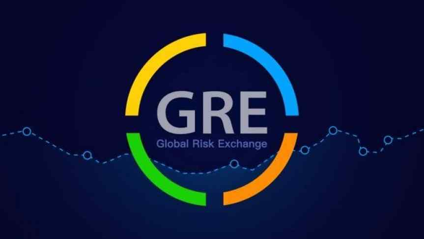 GRE logo on a blue background