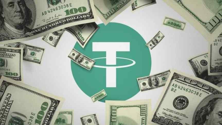 100 Dollar bills over Tether symbol
