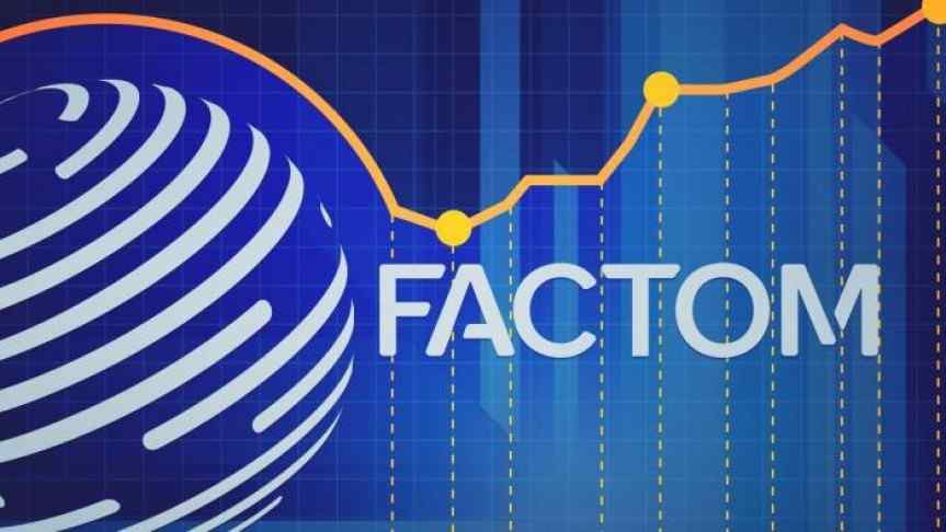 Factom logo on a blue background