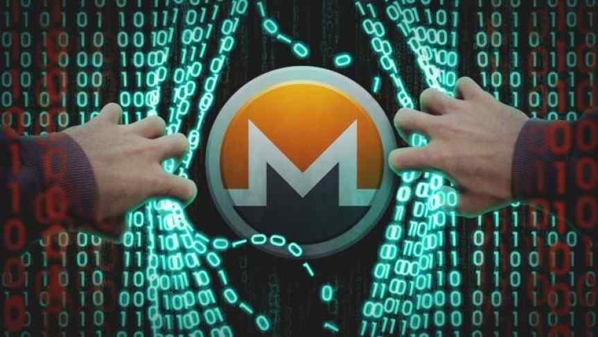 Monero logo being revealed from behind curtains made of 0 and 1 code chains