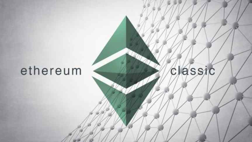 Green Ethereum Classic logo and a illustration of the blockchain