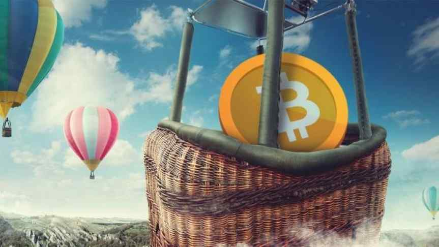 One Bitcoin in a hot air balloon