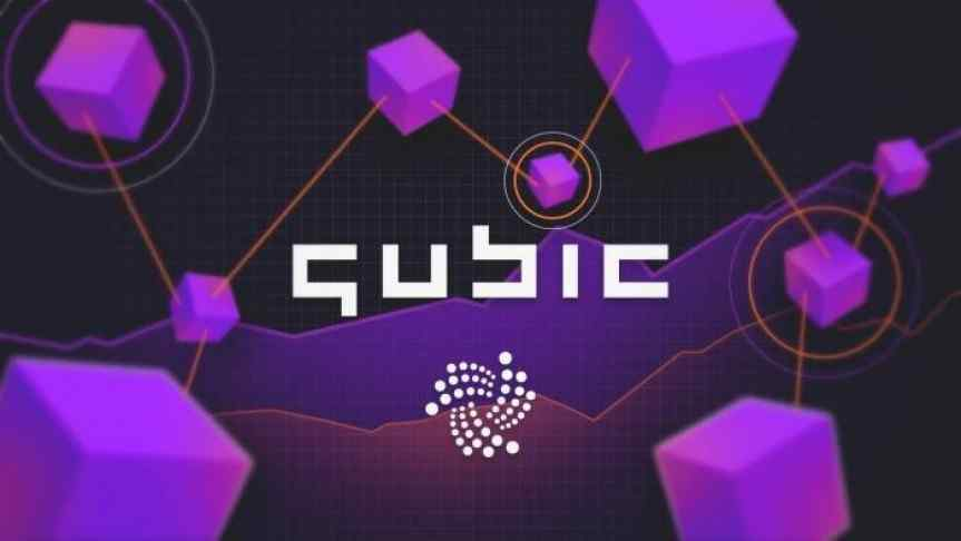 Purple cubes interconnected by orange lines, a graphic representation of IOTA Qubic protocol.