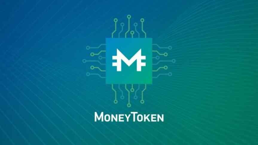 Money Token logo in front of blue and green background