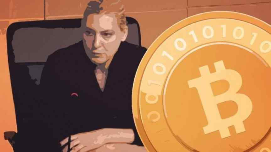 Illustration of Valerie Szczepanik and a Bitcoin