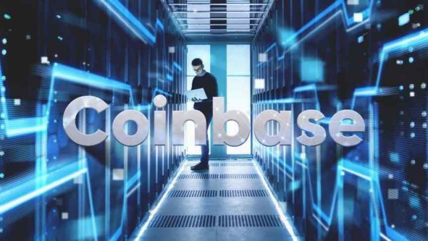 Man holding a laptop in a server room and the Coinbase logo in front of the image