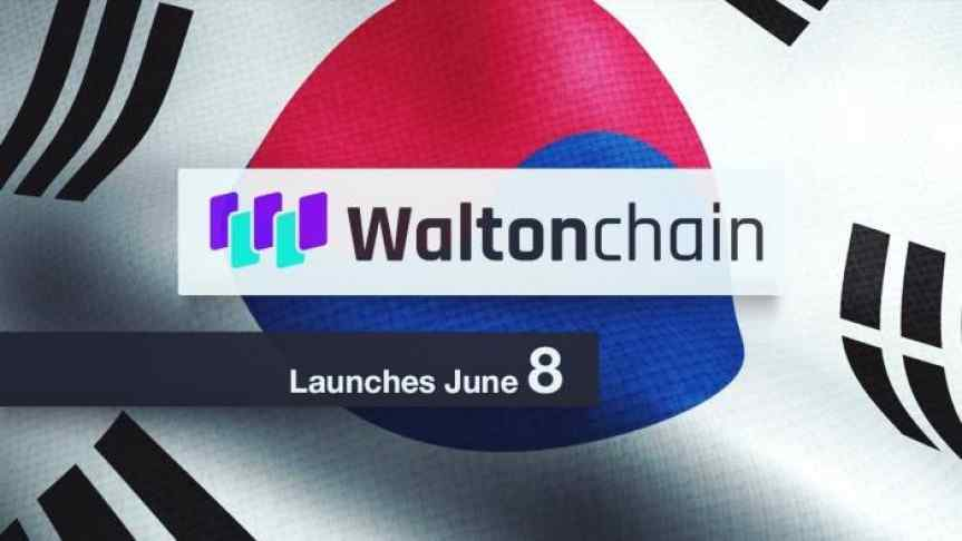 Waltonchain logo and a text saying it launches June 8; South Korean Flag in the background