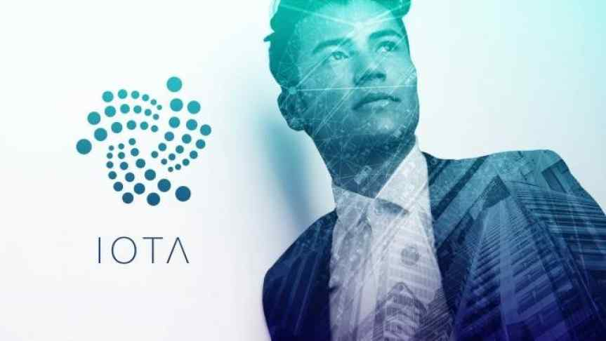 Illustration of IOTA Tangle on Qubic protocol and a cityscape overlaying the image of a businessman. IOTA logo