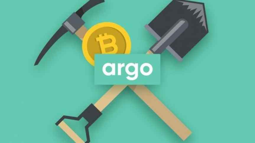 Argo logo in front of a Bitcoin, a pickaxe and a shovel