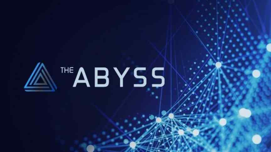 Abyss logo on a blue background and a part of blockchain illustration
