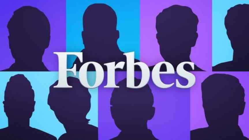 Unknown faces in colored squares under the logo of Forbes