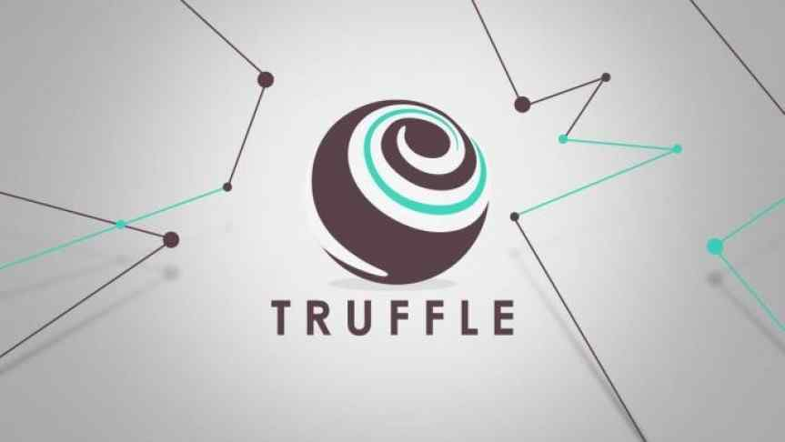 Illustration of Truffle logo between blockchain elements