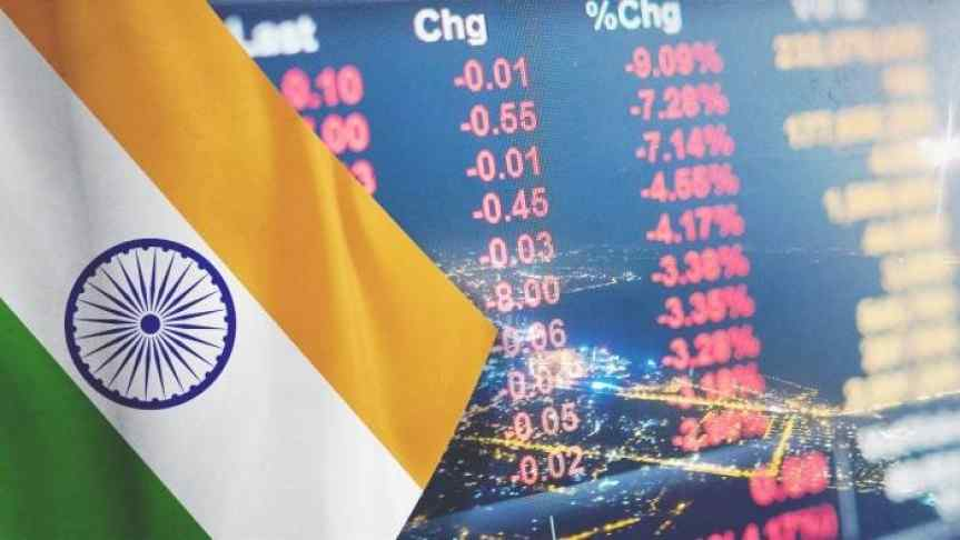 India's flag on the background of market price drop