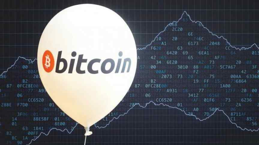 Bitcoin balloon on the background of market graph