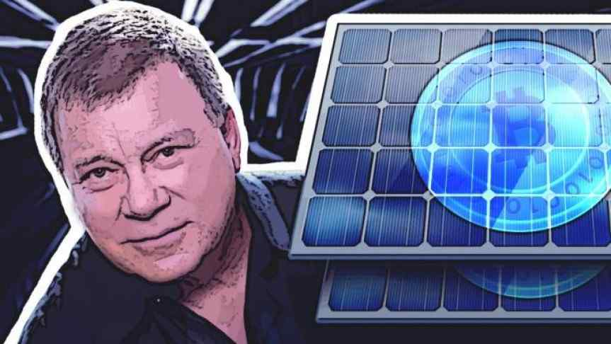 Illustration of William Shatner and two Bitcoin branded solar panels