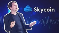 Brandon Synth in suit leaning back on blue background with Skycoin logo and name