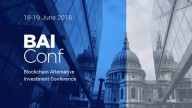 Blockchain Alternative Investment Conference 18-19 June 2018 St. Paul's Cathedral and modern glass building in half grey half blue