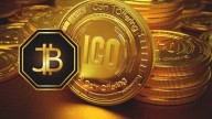 Jinbi coin logo in front of a stack of gold coins labeled ICO