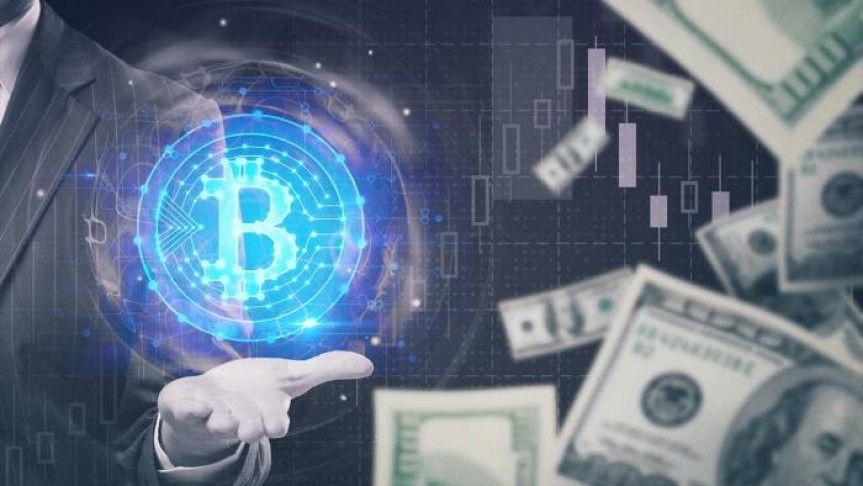 man in suit holding out hand, big Bitcoin coin glowing in blue with halo floating above man's hand, USD bills scattered on the right.