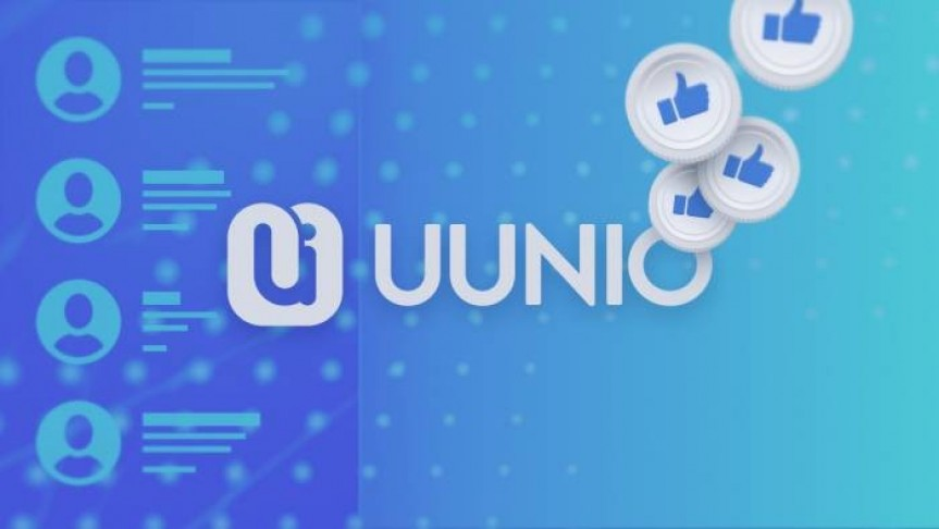 UUNIO logo and name on blue and turquoise background, thumbs-up white coins floating on the left, profile template in a column on the left