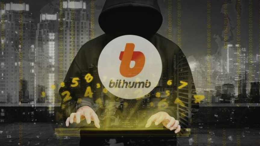Bithumb logo on man wearing black cape with hood and no face typing on keyboard, floating numbers in yellow, buildings in background