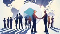 business people scattered on background of sunset and world map, two men at the front shaking hands. CryptoBrick logo in white circle.