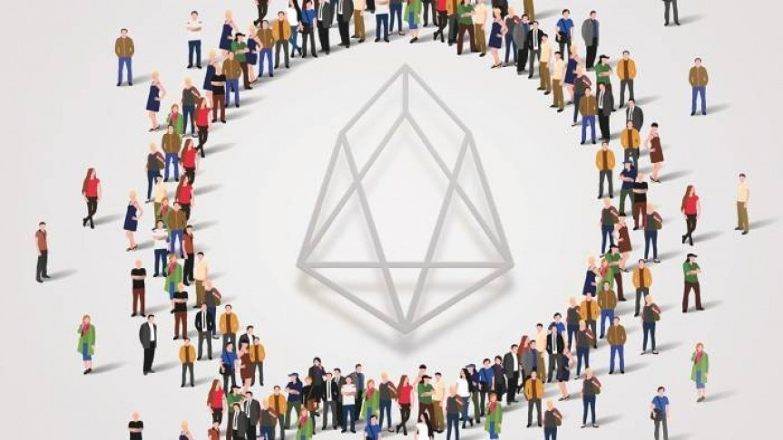 drawing of people standing in a circle around EOS logo, white background