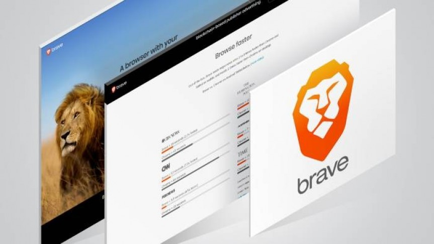 three cards in line. Last card shows image of lion in a safari, second shows browser results, first shows Brave orange lion logo
