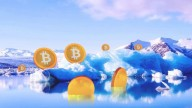 Icebergs surrounded by lake, clouds reflecting in the water, Bitcoins floating around