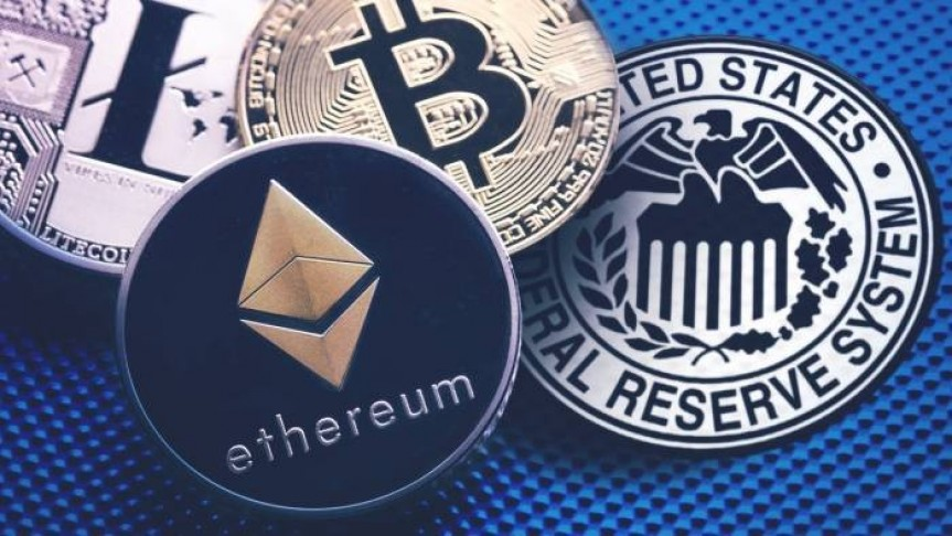 Three coins representing Ethereum, Bitcoin and Litecoin over a US patch
