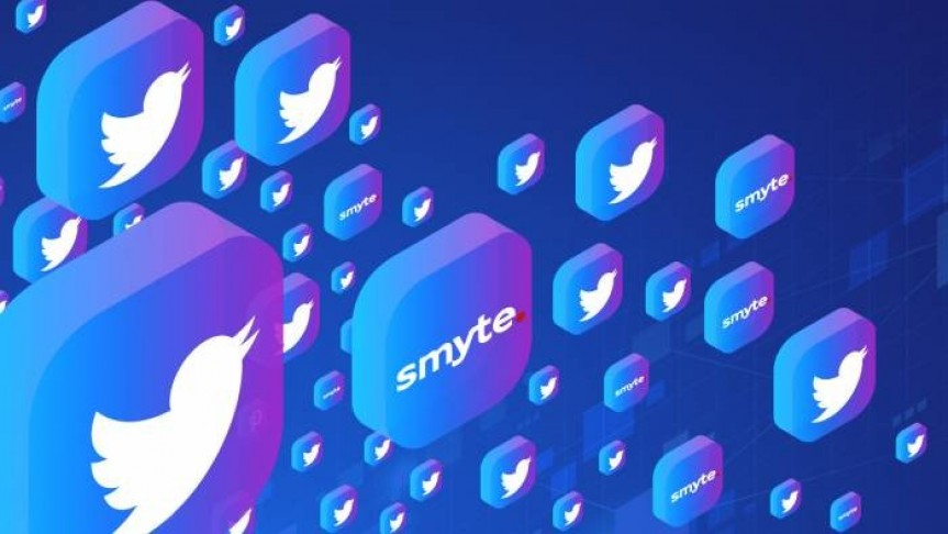 Twitter and Smyte logos on floating square blue-purple buttons