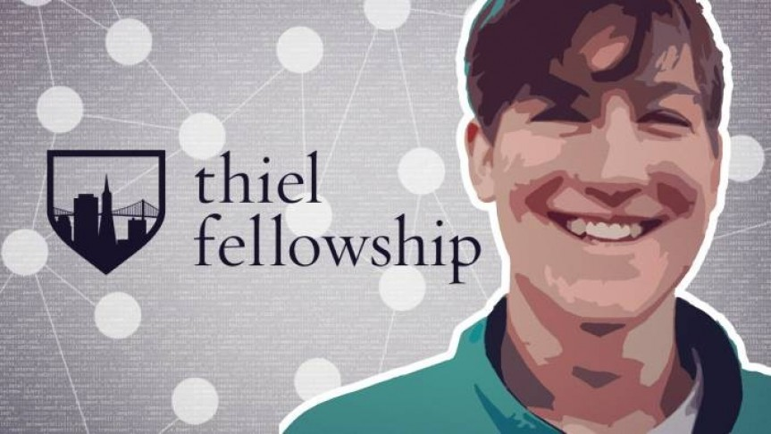 Peter Thiel photo-drawing smiling in green shirt, grey background with connected white dots, thiel fellowship name and logo
