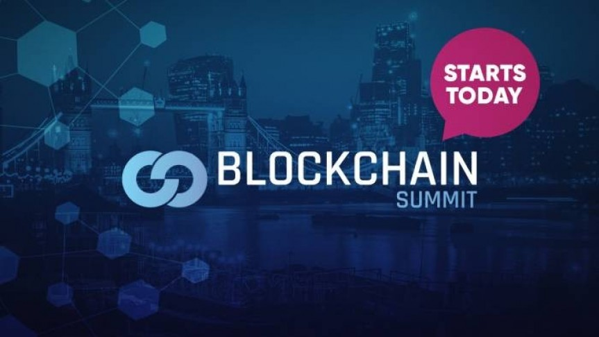 Blockchain summit name and logo, pink thought bubble that says Starts Today, a picture of London in the background in dark blue