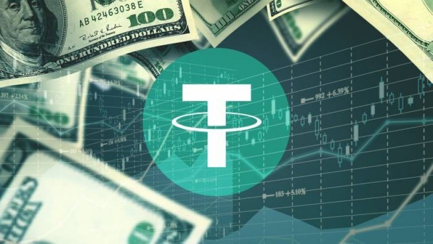 Tether logo in green surrounded by 100 dollar bills on background of opaque graph