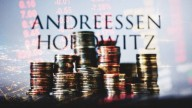 stack of gold coins on background of city lights and Andreessen Horowitz's name