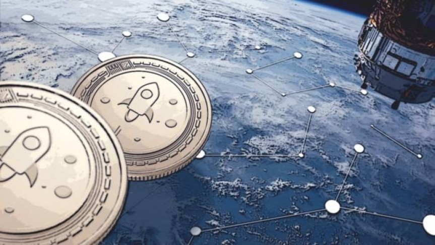 two Stellar coins in space, looming over a blue planet, connected white dots spread across the planet and spaceship on the right