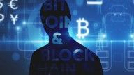 picture-painting of Eric Budish in suit on blue background with Bitcoin logo, Bitcoin & Blockchain written in white