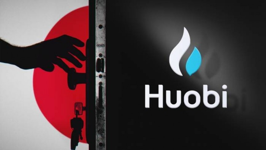 Huobi name and logo on black background on right, black hand reaching for door handle on the left, Japan's flag in the background