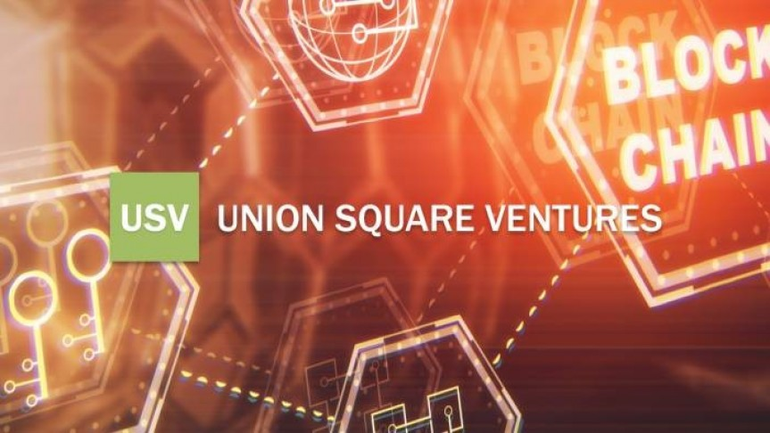 USV logo in green, Union Square Ventures name in white, orange yellow background showing connected blocks with different symbols inside