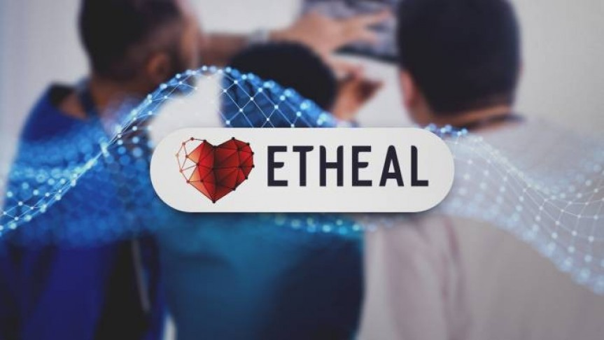 ETHEAL name and logo in white ellipse, wavy graph and three people pointing to a blurry picture i the background