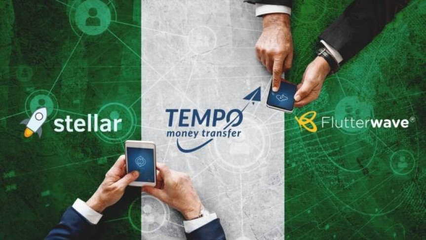 two men holding smartphone with Tempo's logo in them, Tempo, Stellar, and Flutterwave's names and logos, green and white background
