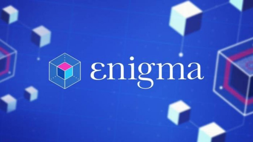 Enigma's name and logo on purple-blue background. Squares connected by net floating around.