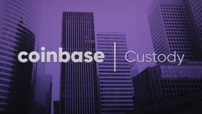Coinbase and Custoday names in white-grey, on purple-black background of skyscrapers