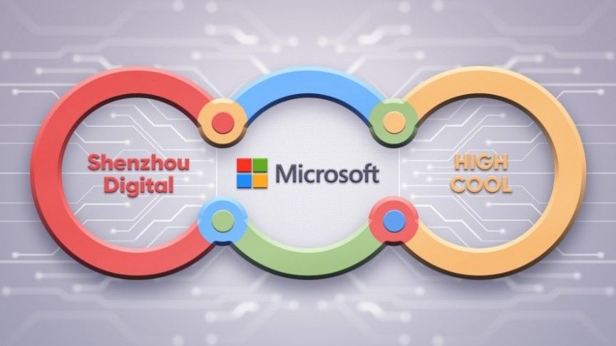 Microsoft, Shenzhou Digital and High Cool in blue, green, yellow and red connected circle. Grey background with net
