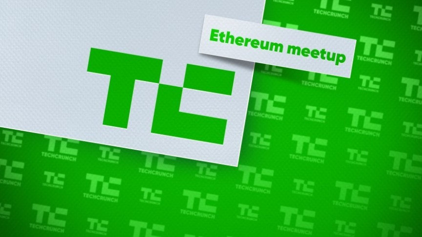 Tech Crunch Logo and Ethereum meetup in green on white card, on green background of TC logos,