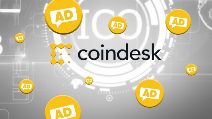Coindesk yellow logo, floating yellow AD bubbles, ICO coin in white on grey background