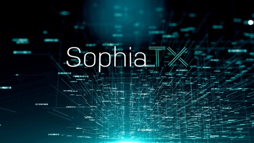 SophiaTX logo on black network background