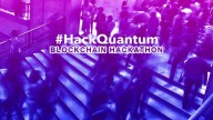 #HackQuantum Blockchain Hackathon title, on blue-purple background of people walking up and down steps