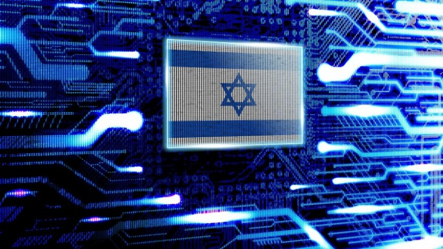 Israel's flag on glowing-blue background