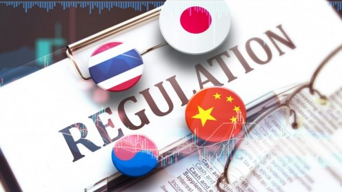 Regulation sign on clipboard, Thailand, China, Japan and South Korea flags on pins, glasses lying on paper